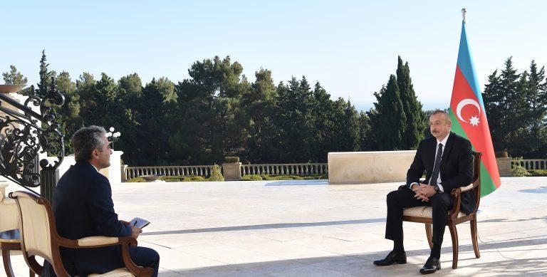 """İlham Əliyev Türkiyənin """"A Haber"""" televiziya kanalına müsahibə verib"""